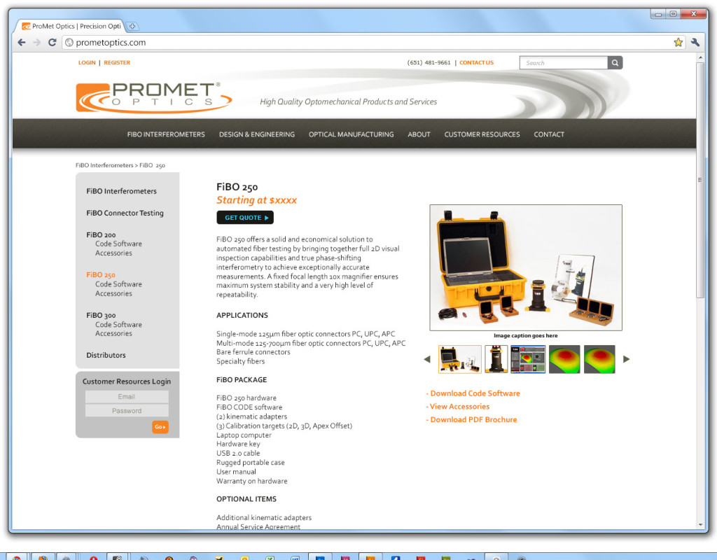 Promet website - individual product page