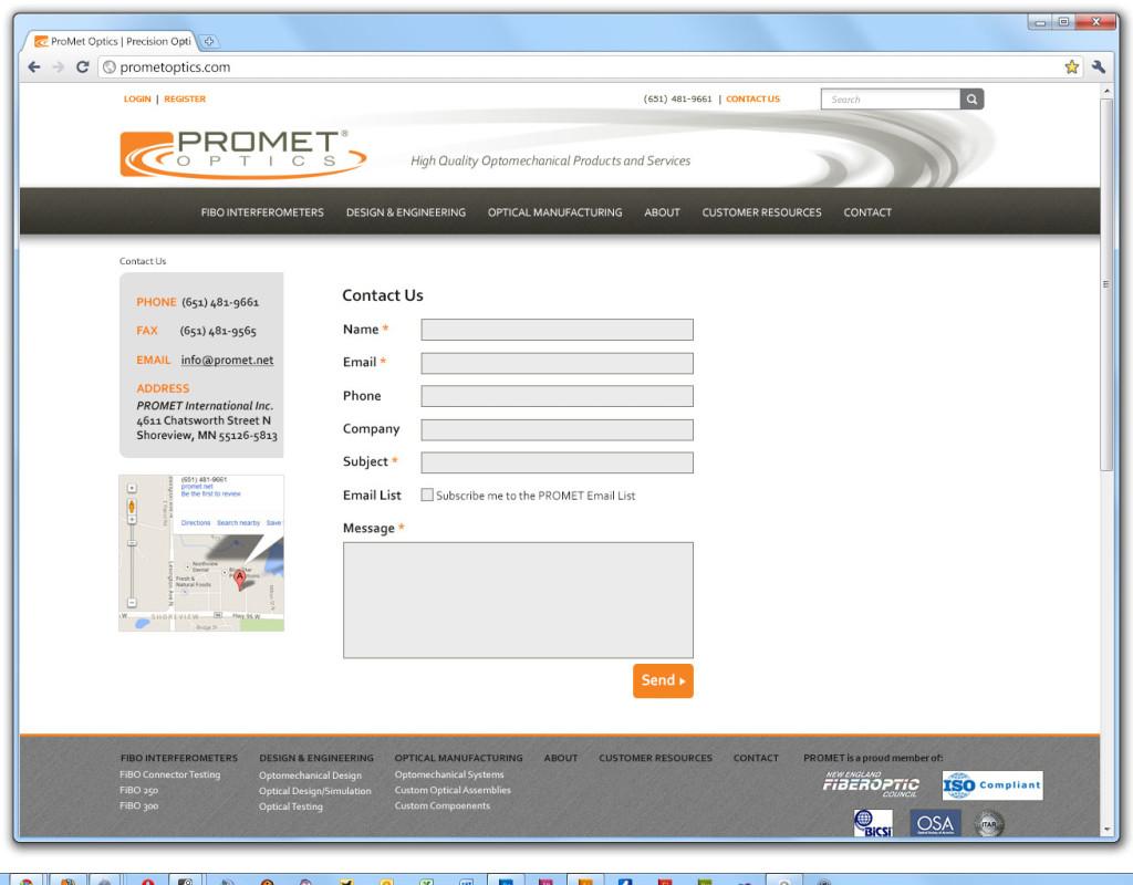 Promet website - contact