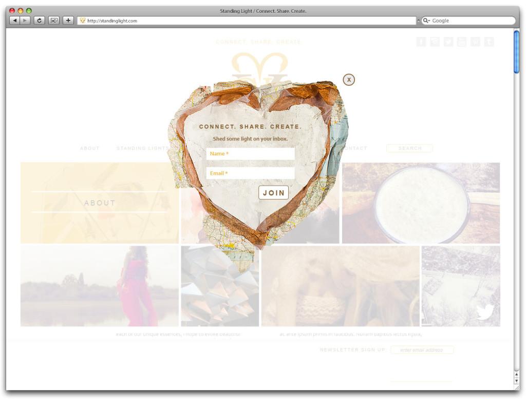 Standing Light website design - email