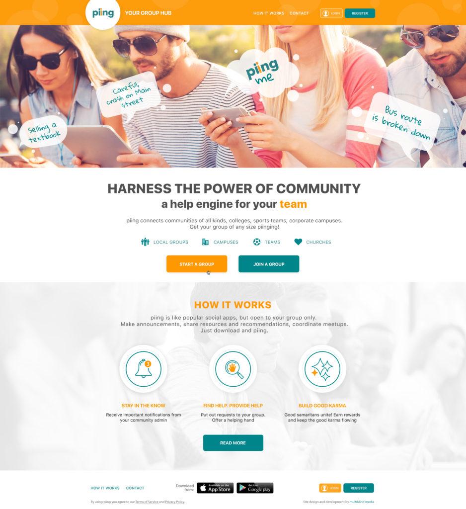 piing website homepage