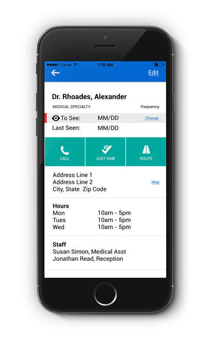 PharmaBuddy app, contacts features