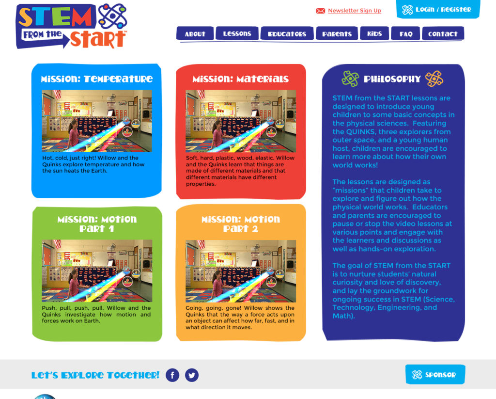 STEM from the Start website, Lessons page