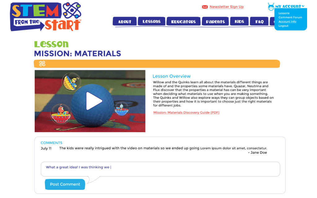 STEM Site, Lesson materials