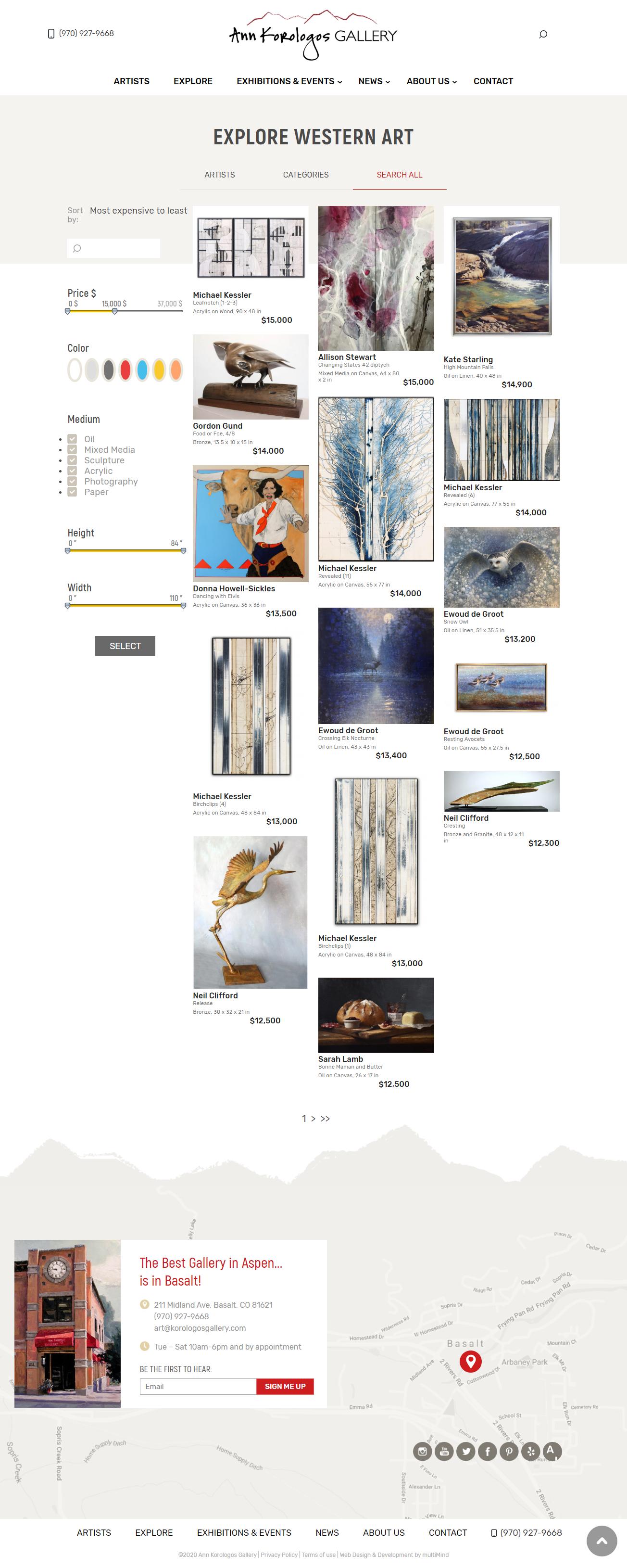 Ann Korologos Gallery website explore search inventory