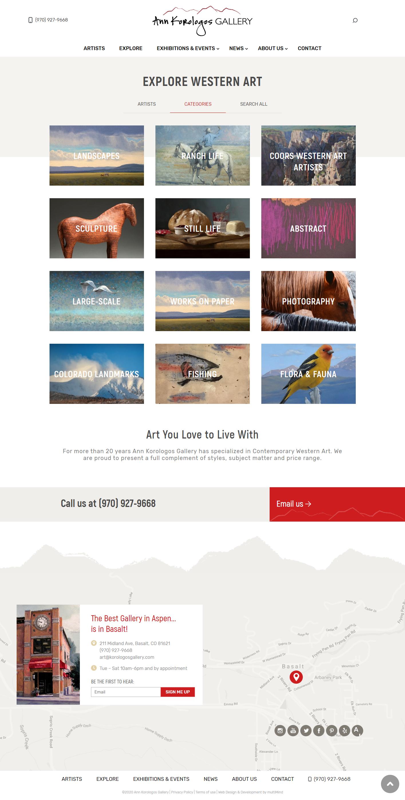 Ann Korologos Gallery website, explore western art