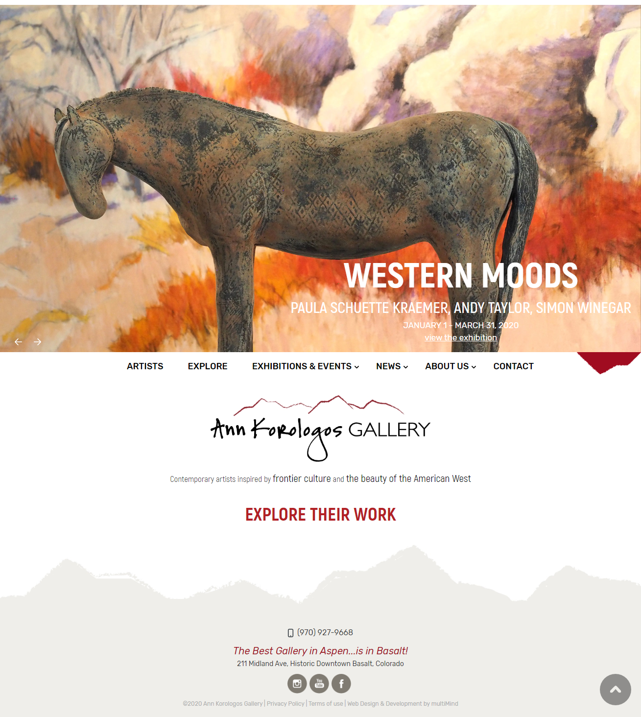 Ann Korologos Gallery website homepage about the art